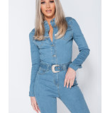 Parisian Western belt detail long sleeve denim jumpsuit blauw