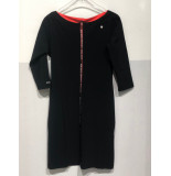 Zip73 945-11-01 jurk tape front -orange zwart