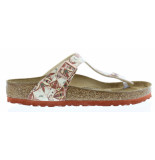 Birkenstock Gizeh boho flowers earth red regular rood