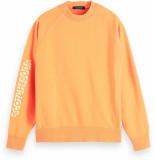 Scotch & Soda Garment-dyed crewneck sweat with ar clementine oranje