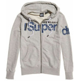 Superdry Core split logo zip hood cardigan grijs