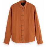Scotch & Soda Classic linnen dress shirt russet brown bruin