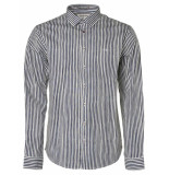 No Excess Shirt, l/sl, allover printed stripe night