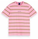 Scotch & Soda Colourful striped pique crewneck tee roze