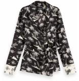 Maison Scotch Printed pyjama blazer with belt zwart