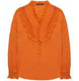 10 Feet Blouse with lace in dobby dot cinnamon oranje