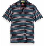 Scotch & Soda Chic polo in mercerized jersey blauw