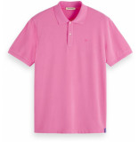 Scotch & Soda Garment-dyed stretch pique polo hibiscus pink roze