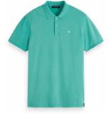Scotch & Soda Garment-dyed stretch pique polo groen