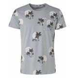 Noize T-shirt, s/s, r-neck, allover print lt blue