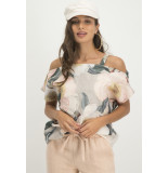 Jane Lushka Mgw620ss780 florence cold shoulder top peony