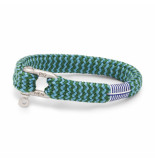 Pig & Hen P07-ss20-161562 armband sharp simon jungle green - sky blue silver