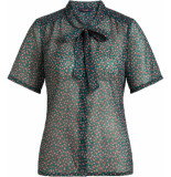 King Louie Delia bow blouse coulisse voile para green groen