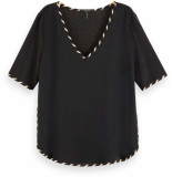 Maison Scotch V-neck tee with woven front panel