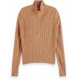 Maison Scotch Cashmere blend cable anorak knit camel melange