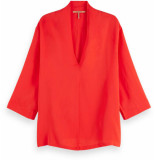 Maison Scotch Viscose top with v-neck flame red rood