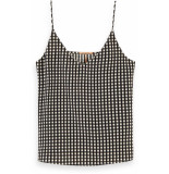 Maison Scotch Printed jersey tank top with woven