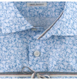 Olymp Level 5 bodyfit smart business overhemd shirt print 351654 licht blauw