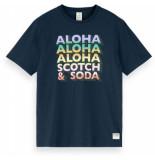 Scotch & Soda Gradient artwork tee night blauw
