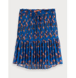 Maison Scotch 156003 0599 printed skirt with pleats blauw