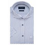 Profuomo Originale slim fit knitted overhemd met korte mouwen blauw