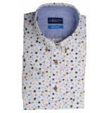 Bos Bright Blue Blue overhemd wit met print 20107wo20bo/830 camel