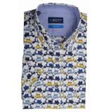 Bos Bright Blue Blue overhemd multicolor met print 20107wo24bo/440 yellow