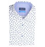 Bos Bright Blue Blue overhemd wit met print 20107wo32bo/240 blue