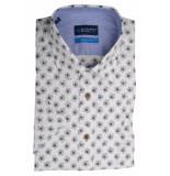 Bos Bright Blue Blue overhemd wit met print 20107wo37bo/365
