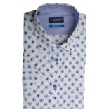 Bos Bright Blue Blue overhemd wit met print 20107wo38bo/210 l.blue