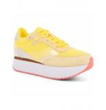 Woden Woden artikelnummer Linea sneaker geel op plateauzool