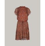 Summum 5s1151-11215 738 ruffle dress short slv paisley print mahogany rood