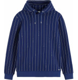 Scotch & Soda Signature blauw pinstripe hooded sweat