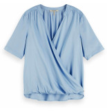 Maison Scotch Wrap-over top in viscose quality powder blue