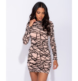 Parisian Abstract print long sleeved mesh bodycon dress roze