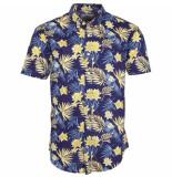 Kronstadt Overhemd johan exotic korte mouw gele planten print slim fit blauw