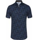 Desoto Heren overhemd met zwarte bladeren print slim fit blauw