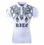 Hite Couture heren polo slang strass stenen piver - wit