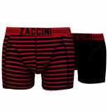 Zaccini 2-pack boxershorts uni gestreept - rood