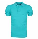 VDHT trendy effen heren polo ongetailleerd turquoise