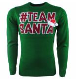 Ferlucci Unisex kersttrui fijn gebreid ronde hals team santa - groen