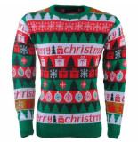 New Republic Unisex kersttrui fijn gebreid ronde hals merry christmas groen
