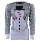 New Republic Unisex kersttrui fijn gebreid ronde hals sneeuwpop -