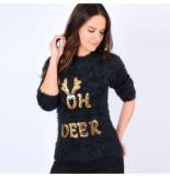 Season's Dames kersttrui fijn gebreid ronde hals oh deer - zwart