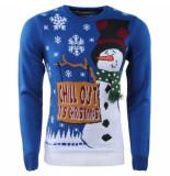 Season's Kersttrui voor heren en dames fijn gebreid ronde hals chill out it's christmas donker blauw