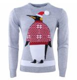 Season's Kersttrui voor heren en dames fijn gebreid ronde hals pinguïn licht grijs