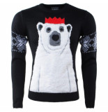 Season's Kersttrui voor heren en dames fijn gebreid ronde hals polar bear - zwart