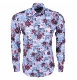 Ferlucci Heren overhemd met trendy design calabria stretch - bordeaux rood grijs