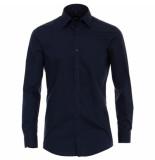 Venti heren overhemd poplin strijkvrij slimfit navy blauw