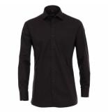 Casamoda heren overhemd strijkvrij met borstzakje regular fit - zwart